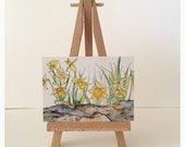 "ACEO / Artist Trading Card Print of Pen and Wash Painting of a ""Daffodil Rock Garden"" by Kylie Fogarty Art"