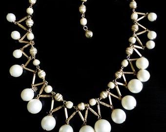Vintage Signed Kramer Faux Pearl Drop Necklace