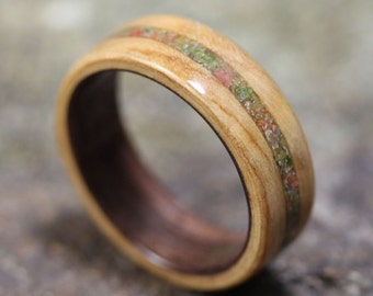 Olivewood Bentwood Ring featuring Black Walnut liner and Unakite Stone inlay - Wooden Ring - And We Plant A Tree:)