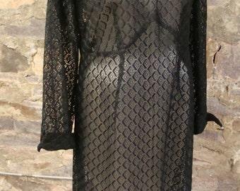 BLACK LACE DRESS sheer layering 1960's 1970's L xl