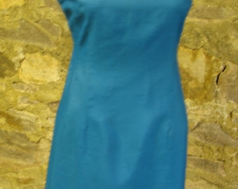 RICH AQUA TURQUOISE sheath dress vintage 1960's 60's S