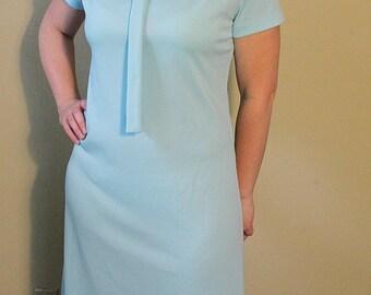 Vintage 1960s Baby Blue Dress - Mod Styel - Casual Dress - Light Blue - Pastel Blue - Short Sleeve - Large - Lady Blair