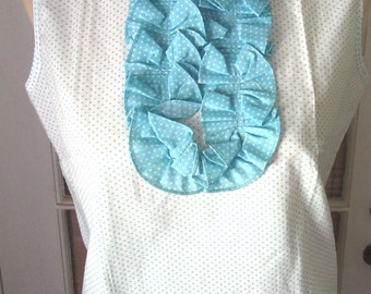Vintage Fab Early 1960's Mod Ladies Blue and White Cotton Polka Dot Ruffled Sleeveless Blouse Shirt Vintage Clothing