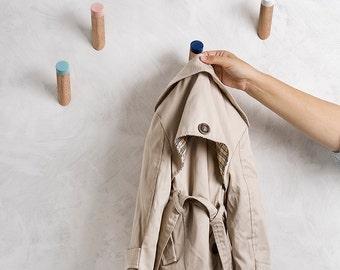 Wall Hooks Set Of Five, entryway coat hooks, Scandinavian modern home decor, wood wall pegs