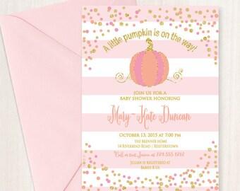 Little Pumpkin Baby Shower Invitation, Fall Baby Shower Invitation, Printable, DIY, Pink Pumpkin Invitation