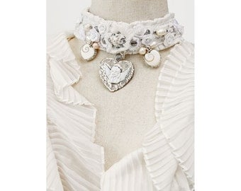 Choker White Wedding Cream Pearls Lace Angels Victorian Adjustable Bridal Necklace Jewelry Choker Beaded Satin Ribbon Charming Beige French