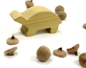 Woodland Animal Toy Turtle, Forest Animal, Handmade Wooden Toy