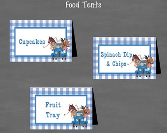 INSTANT DOWNLOAD Little Blue Truck Birthday Food Tents Labels (Buffet Cards)--DIY Printable