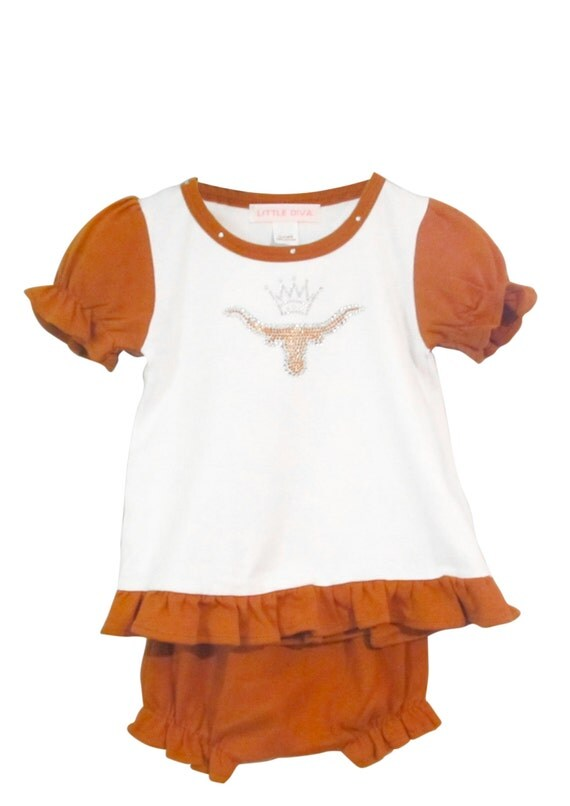 Longhorn Baby Girl Ruffle Tee and Diaper Cover Texas Longhorn