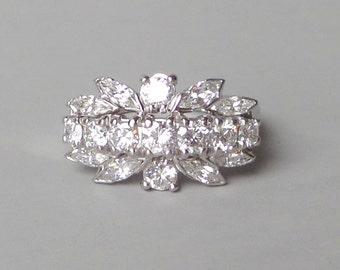 Platinum Diamond Ring. Mid Century. 2.06 Carat twt.