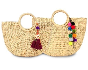 2 Beach Bags Woven Water Hyacinth Feature With Pom Pom Tassel (BG7476SET)