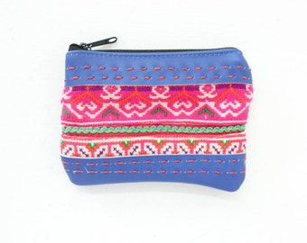 Small Leather Coin Pouch With Vintage HMONG Fabric Handmade (BG4118.4C18)