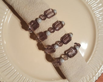 Smokey Grey Napkin Rings, Beaded Napkin Rings, Set of 4 Napkin Rings