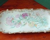 Price Reduced Antique Ca 1900-09 LEONARD VIENNA AUSTRIA Ornate Gold Hand Painted Lovely Pink Rose n Yellow Hand Painted Server Exc Condition