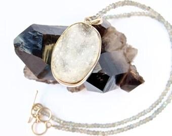 Druze-Pale Blue +White Stone-Labradorite-Beaded Choker-Sterling Silver Pendant-Necklace
