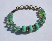 Turquoise and Aqua Blue Czech Glass and Brass Chain Bracelet