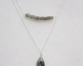 Sterling Silver Layered Labradorite Necklace Set, Labradorite Jewelry