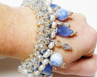 Silver Blue Charm Bracelet STERLING Silver Chunky Charm Cha Cha Bracelets Pearls Crystal Blue Agate Gemstone Matching Earrings OOAK Handmade
