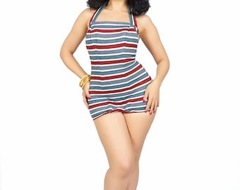Vintage Catalina /  Vintage 1940s Swimsuit  / 1940s Fashion / Red white and Blue Striped Bathing Suit / Swimwear
