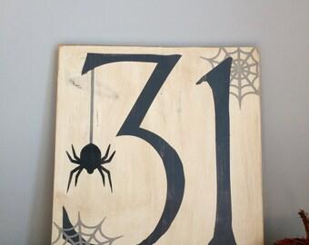 Halloween Hand Painted wood sign.  October 31. Halloween sign. Halloween Home Decor. Halloween Wall Decor.  Halloween Art