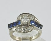 1940s Art Deco Gold Diamond Ring w/ Sapphires -  One Carat CTW Diamond & Sapphire Cocktail Ring - Vintage Multistone Size 5 Engagement Ring