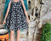 Halloween Tiny Skull Black Print dress for Minifee Msd BJD Outfit clothes outfit dolls Goth Emo Punk Grunge
