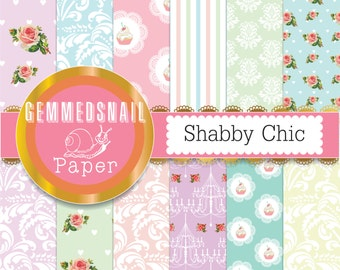 Shabby chic digital paper. damask roses in shabby chic colors