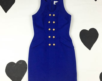 90s Linda Segal Blue and Gold Button Cut out Mega Babe Mini Dress / Size  4/ The Nanny / 90210 / Clueless / Ab Fab / Double Breasted /