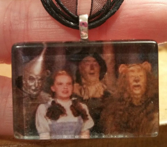 "Wizard of Oz Dorothy Glenda Glass Neckace 18"" ribbon cabochon"