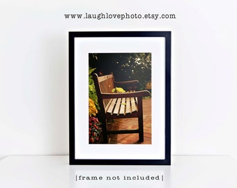 Cozy Bench Photo, Fall Garden Picture, Warm Autumn Photography, Earth Tones Yellow Brown Flowers Floral Cottage Home Decor Wall Art