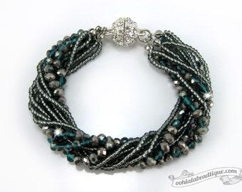 Green Multi strand Crystal bracelet gray beaded jewelry multi strand bracelet green crystal bracelet sparkly evening bracelet gift for her
