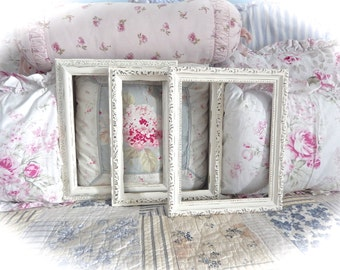 Shabby Off White Cream Distressed Ornate Picture Photo Frames Wedding Table Numbers Cottage Chic 8 x 10 READY TO SHIP