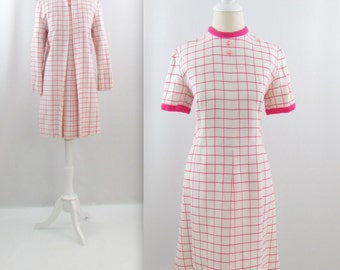 Pink Windowpane A Line Dress Jacket Set - Vintage 1960s 2 Piece Outfit in Pink & White Grid Print - Small