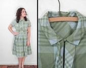 Plaid PLEAT Shirt Dress 60s Collar Medium Sky Blue Sage Green
