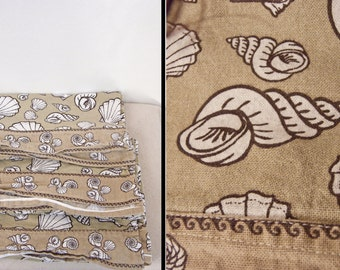SHELL Pattern Curtains 3 Piece Set Valances Long Skinny Panels Taupe Brown Cream