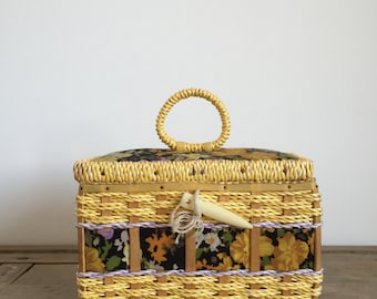 bright retro Floral Sewing Basket in bright yellow //  woven storage box // made in Korea