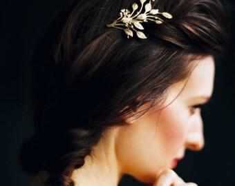 Tocado de novia, oro peine nupcial, flor de naranja Mini peine - estilo 3516