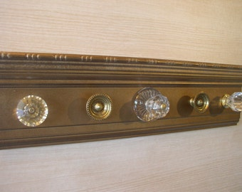 "necklace holder, vintage bronze metallic  jewelry organizer.This wall rack has 5 classic knobs 15"" long. Great gift of"