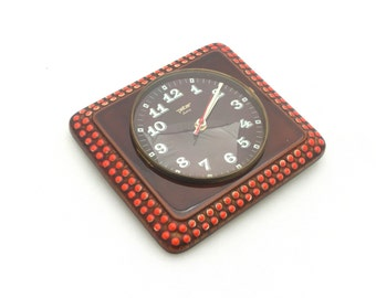 Vintage Wall Clock, Ceramic Wall Clock, Wall hanging Clock, From Germany 70s, Brown Red, Unique Clock Peter, Kitchen clock, Polka dots
