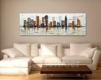 Large Abstract Painting city 20 x 60 original modern urban painting palette knife oil painting abstract MADE-TO-ORDER by L.Beiboer