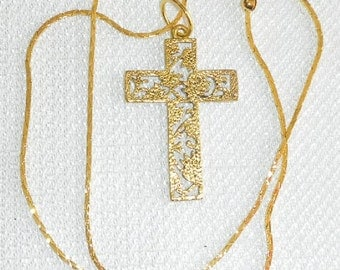 EASTER Sale I am the TRUE VINE Style Cross on Gold Cable Chain Christian Jewelry Pendant Necklace Beautiful Cross Great Gift Idea