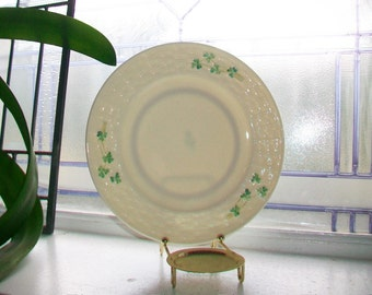 "Vintage Irish Belleek Luncheon Plate 8 1/8"" Shamrocks and Basketweave Third Green Mark"