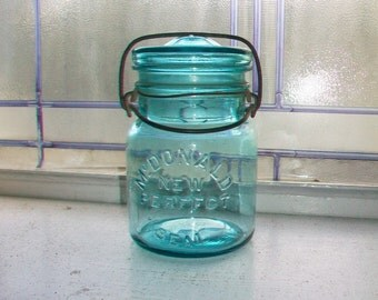 Blue Canning Jar McDonald New Perfect Seal Pint Mason Jar with Glass Lid 1920s 2 Available