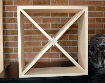 "24 Bottle Wood Wine Rack  20"" Square Kitchen Bar Storage Natural Pine Solid Modular Stackable"