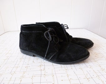 80's Black Suede Booties Leather Lace Up Ankle Boots Made in Spain 8