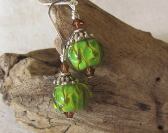 Olive Green n Brown Reticulated Lampwork Earrings on Sterling Leverbacks, Green Round Artisan Glass Bead Earrings, Fall Colors, Chic, Gift