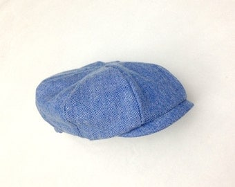 Boys Hat, newborn newsboy cap, Blue newsboy, Baby boy hat, Irish cap, Newsboy cap, Boys newsboy cap, Baker Boy, 8 panel, herringbone, Newsie