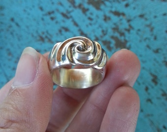 Hurricane Ring in solid Sterling Silver - awesome heavy handmade storm ring for him or her, swirling cloud ring