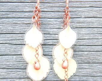 Natural Petal Jewelry - White Hydrangea Pressed Flower Earrings with Copper Teardrop Glass Beads