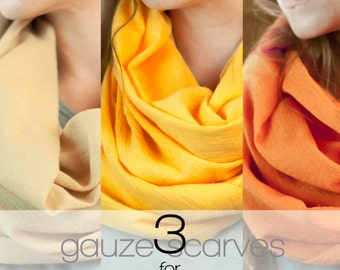 SALE Gauze Infinity Scarves, 3 for 19.99,  Boho Cotton Gauze Scarf, Lightweight 100% Cotton Circle Bohemian Accessory Clearance Grab Bag